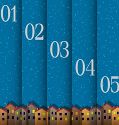 Numbered banners with paper town winter vector image