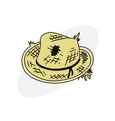 Old straw hat vector
