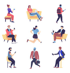 People in process work and rest flat vector