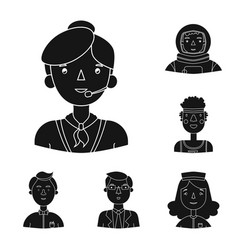 People of different professions black icons in set vector