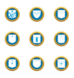 Pocketable icons set flat style vector