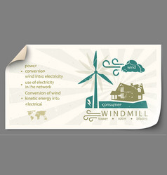 renewable energy from wind turbines templates vector image