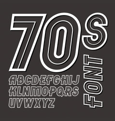 Retro 70s capital alphabet letters collection can vector