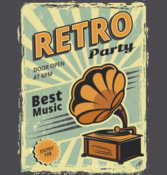 retro party invitation poster with gramophone and vector image