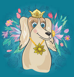 Royal dog with flower bouquet vector