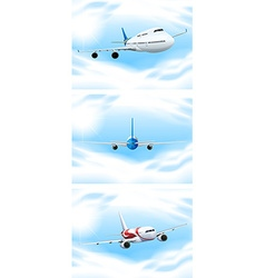 Scene with planes flying in the sky vector