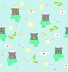 seamless pattern bear winter tea coffee scarf vector image