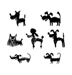 set dog silhouettes vector image