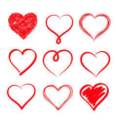 set of hand drawn hearts design element vector image