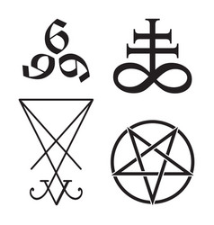 Set of occult symbols leviathan cross pentagram vector