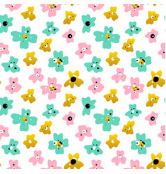 small flowers seamless pattern vector image