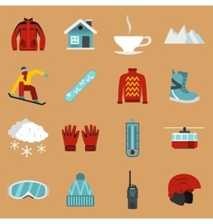 Snowboarding icons set flat style vector image