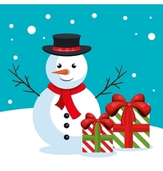 snowman box gifts snow design vector image