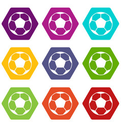 soccer ball icon set color hexahedron vector image