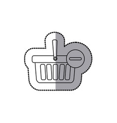 sticker silhouette with shopping basket with minus vector image