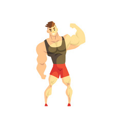 Strong muscular athletic man sportsman character vector