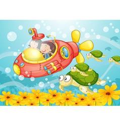 Submarine scene vector