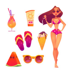 summer beach set with girl in bikini and cocktail vector image