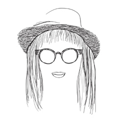 Summer Girl in hat and sunglasses vector image