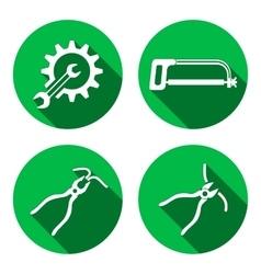Tools icons set Saw pliers tongs cogwheel vector image