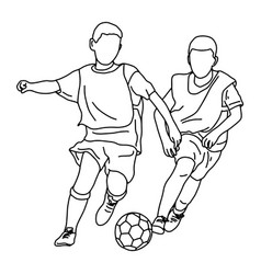 two boys playing soccer together vector image