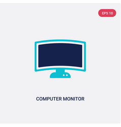 two color computer monitor icon from computer vector image