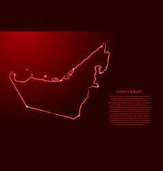 United arab emirates map from contour red vector