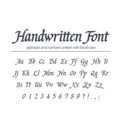 Universal handwritten italic font hand drawn vector