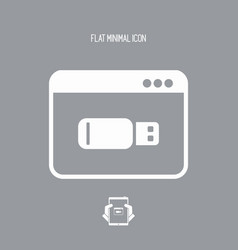 usb memory application - flat minimal icon vector image