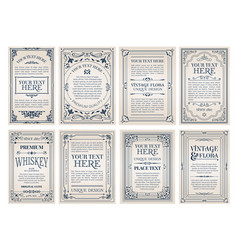 vintage creative cards template with beautiful vector image