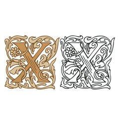 Vintage initial letter x with baroque decoration vector
