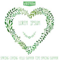 Watercolor green branches heart vector