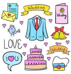 Wedding party doodles vector