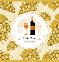 white wine label white grape seamless pattern vector image