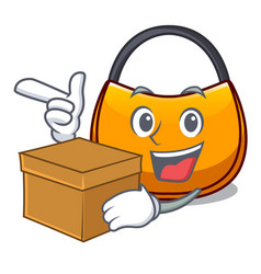 With box beautifully hobo bag on character funny vector