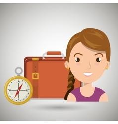 woman bag compass travel vector image