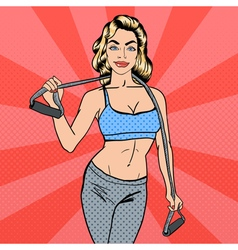 Woman with Sport Equipment Fitness Girl Pop Art vector