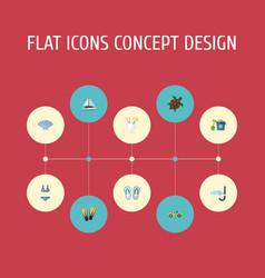 Flat icons shovel swimming slippers and other vector
