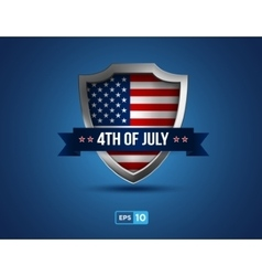 fourth of july shield on the blue background vector image