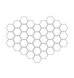 Honeycomb set in shape of heart Beehive element vector image vector image
