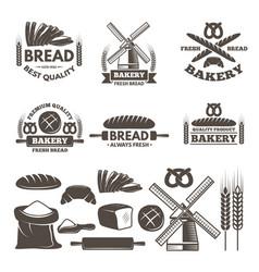 monochrome labels set for bakery shop vector image vector image