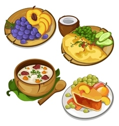 Set of delicious healthy food on white background vector image vector image
