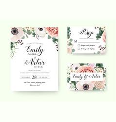 Wedding invitation floral invite rsvp cute card vector