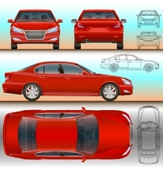 car red set all view color and vector image vector image