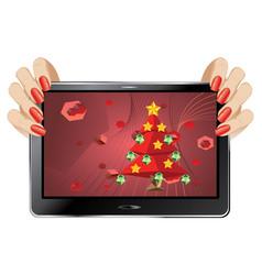 Christmas greeting on display vector