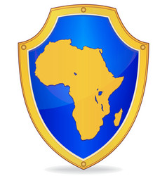 shield with silhouette of africa vector image vector image