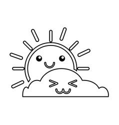 summer sun with cloud scene kawaii character vector image vector image