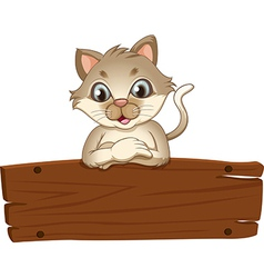 An empty wooden signboard with a cat vector image vector image