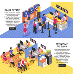 bank office horizontal isometric banners vector image vector image