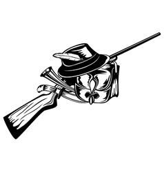 hunting bag rifle and hat vector image